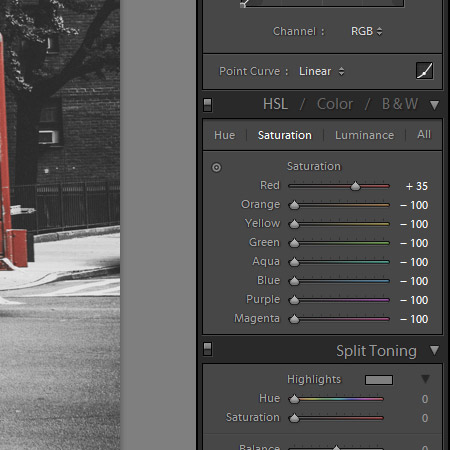 Selective Color Saturation in Lightroom
